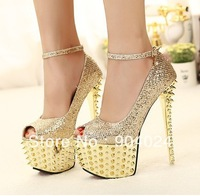 Free shipping 2013 summer New style 16CM Women high Heels Peep-toe platform pumps rivet gold wedding shoes 35-39