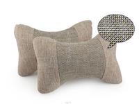 car headrest linen neck headrest car seat cushion vehienlar plaid car pillow, car seat covers