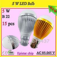 Free shipping 15 pcs/lot 5x1w 5w b22 led bc light bulbs gold / silver aluminum profile ac 85-265v Epistar 500 lm warn / white