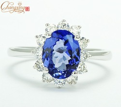 Free Shipping 1.62ctw Natural Blue Tanzanite Solid 14CT White Gold VS Diamond Engagement Ring Gemstone Jewelry Wholesale(China (Mainland))
