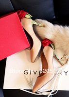 Va romantic rose pointed toe high-heeled shoes beautiful !