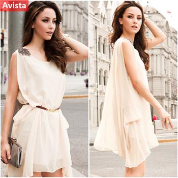 2014 Summer Women Chiffon Sleeveless Bead Mini Dress Casual Solid Sundress With Belt G20131002