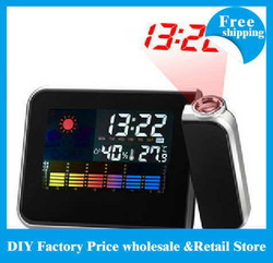 90pcs/lot DHL/EMS Freeshipping Cheap Digital LCD Screen LED Projector Alarm Clock Mini Desktop Multi-function Weather Station(China (Mainland))