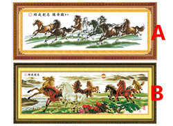 "Chinese style craft! Eight Horses Pentium cross-stitch ""Ma dao cheng gong"" Eight Horses living room decoration, FREE SHIPPING(China (Mainland))"