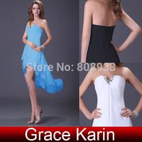 New Arrival 2014 Grace Karin Short Front Long Back V Neck Chiffon Black,Blue,White Prom Party Cocktail Dress CL4099