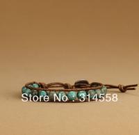 Newest 8 MM Natural Turquoise Single Leather Wrap Bracelet, Free Shipping Handmade Wrap Bracelet
