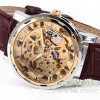2014  Winner New Luxury Watch Skeleton Mechanical Gold Auto Men's Watches Leather Strap Wristwatch