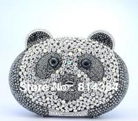 2014 Fashion Panda Shaped Crystal Clutch Bag Women Party Clutch Purse Free Shipping!
