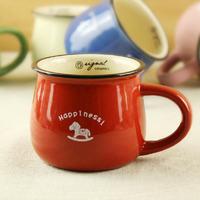 Zakka Imitation enamel cute ceramic cup mug milkcup breakfast coffee cup 7 kinds of color free shipping