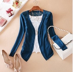 2013 New 12 Colors Fashion Cardigan Tops For Women Lace Sweet Knit Candy One Size Hollow-out Design Cheap Sweater(China (Mainland))