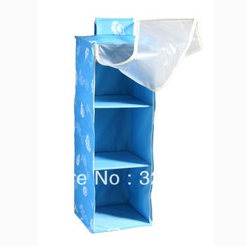 24pcs/lot DHLFreeShipping 3 Shelf foldable storage Hanging bag with curtain Wardrobe hanging pocket Organizer storage Box Closet