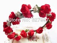5X Fashion flower hair headpiece with artificial hot red wreaths  for wedding bridal headbands DDW011 in free shipping