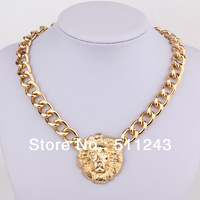 Rihanna's Style Lion Head Pendant Chunky Chain Gold Womens Necklace