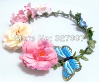 5 x Mory Girl flower headbands Silk rose head garlands with butterfly Wedding flowers hair piece  HZW05