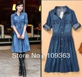 Plus sizes New Fashion Ladies' blue denim dress,Slim women's casual jeans women's jeans dresses casual wear free shipping H334