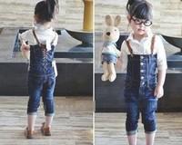 Wholesale New arrival 5sets/lot kids wear denim overalls girls beautiful popular jeans+blouse,jumpsuit,fashion personality 5s/l