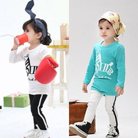 2013 new arrival 2 colors lovely cartoon cute zebra small horse soft cotton t-shirt+pants girl children sport set