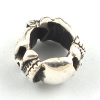 Free Shipping 6.44*11mm big hole 6.87mm 3 skull  Alloy European beads for bracelets making sold per 200pcs