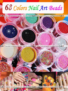 Cheaper! 68pcs/Lot 68Colors Jar Packing Super Caviar Nail Polish Oil Fashion Nail Art Decoration Multicolour Beads Free shipping