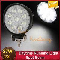 Free Ship Car Headlights  2X 27W  Spot Beam LED Work Light 1800ml Daytime Running External Lights