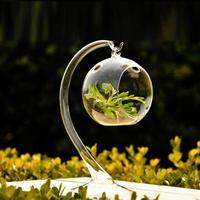 Free shipping Fashion glass round clear vase desktop decoration lovely home decor 1 set (base and round vase)