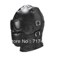 Men's Black Sex toys Head Leather products Eye mask A mask Removable