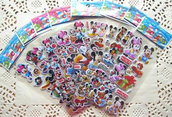 100 Sheets Micky & Minnie Design Kids Cute PVC Puffy Stickers, 3D Stickers. Cartoon Craft Scrapbook Stickers