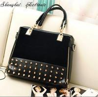 2013 personality rivet patchwork shoulder bag handbag women's handbag m30-024 leather bags free shipping