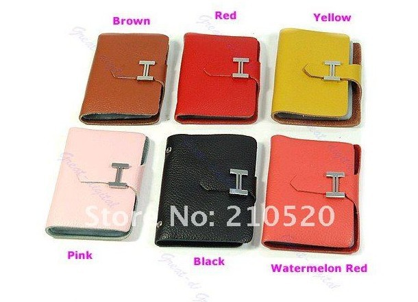 Free Shipping 100pcs/ lot Hot Fashion PU leather Business ID Name Credit Card Purse Wallet Bag Case Pouch(Hong Kong)