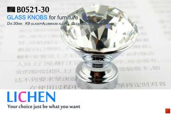 Free Shipping 30mm LICHEN K9 Glass Knobs aluminium knobs Crystal Furniture Handle diamond knobs& Cabinet &Drawer Knob