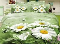 Elegant 3d White Daisy bedclothes bedding set queen size 4pcs Butterfly bedlinen quilt/duvet cover bed sheet cotton home textile