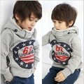 Hot-selling ! 2013spring child fleece sweatshirt outerwear hoodie Boys' Fashion Coat gray