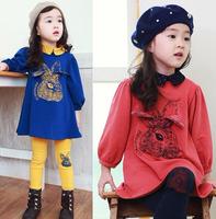2014 New Arrival  Children clothing CUTE Rabbit head Girl's suit / Girls Set  2pcs Dress+Leggings Free shipping