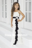 Fashion Spaghetti Strap Black Sash White Long Chiffon Wedding Party Junior Bridesmaid Dresses DB104