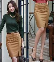 New Arrival Black and Camel Color Solid Black Work Skirt Women's 2014 Formal Slim Hip Middle Waist Pencil Skirt For Girls