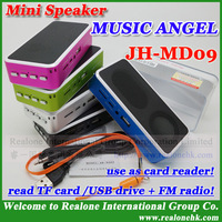 Free shipping MUSIC ANGEL JH-MD09 portable speaker read TF card/USB drive+FM radio+Card reader+100% original mini MP3 music box!