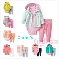 Original Carters Baby Girls Full Sleeve Casual Sets,  Carters Sets Jacket+Pant 2 pieces and 3 pieces Suit, Freeshipping