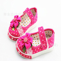 free shipping 2013 new fashion Korea style polka dots Children Shoes Canvas Casual Footwear for girls 6pairs/lot wholesale