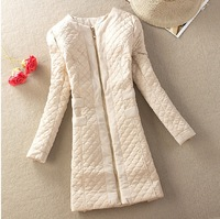 2014 Spring New women vintage outwear coat  tops lady's fashion wadded medium-long jacket cotton-padded belt M to 5XL