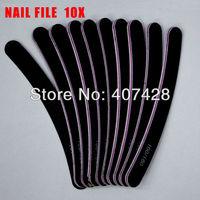 Free Shipping 10 pcs Professional Nail Files Buffer Buffing Slim Crescent Grit Sandpaper