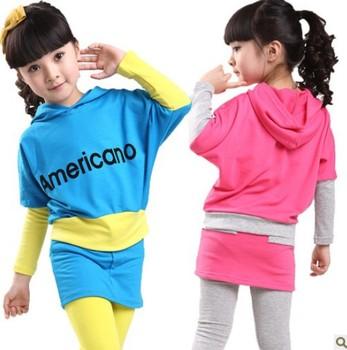 Children's clothing female child spring 2013 child set   beautiful   batwing shirt free shipping