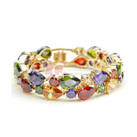 LQ Fashion Bracelets Colorful AAA Zircon 18K Gold Plated Alloy Bangle Best Gift for Women and Good Wishes Bracelet Free Shipping