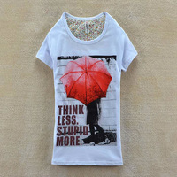 2013 Summer Korean Women Catoon Letter Printed Umbrella Short Sleeve Cotton T-shirts free shipping LJ314