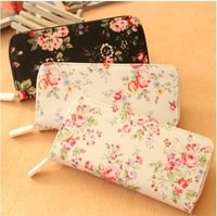 wallets women zipper vintage wallet design flower women's wallet coin purse