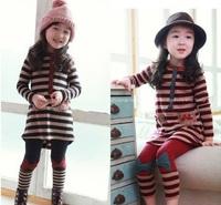 Free shipping 2014 New 100% cotton Children's striped dress/ suit , baby girl long sleeve Dress + leggings Set