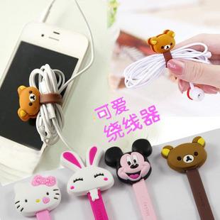 Free shipping (40pcs/lot) Receive line class,2pcs/set, line cable tie belt, Cartoon tie line buckle, headset bobbin winder(China (Mainland))