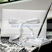 White Satin Wedding Guest Book And Pen Set for Wedding Ceremony Free Shipping