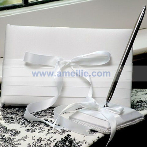 White Satin Wedding Guest Book And Pen Set for Wedding Ceremony Free Shipping(China (Mainland))