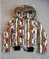Free shipping Brand 2013 new systemic printing real Miss Mao Ling Slim Down Jacket Coat