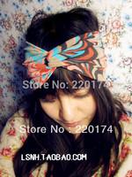 Fashion vintage  wide cotton elastic turban solid stretch headbands for women hair bands headwear bandana headdress